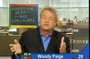 Woody Paige and his chalkboard