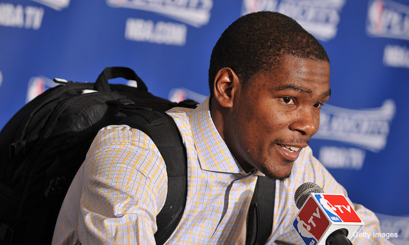 Kevin Durant with backpack