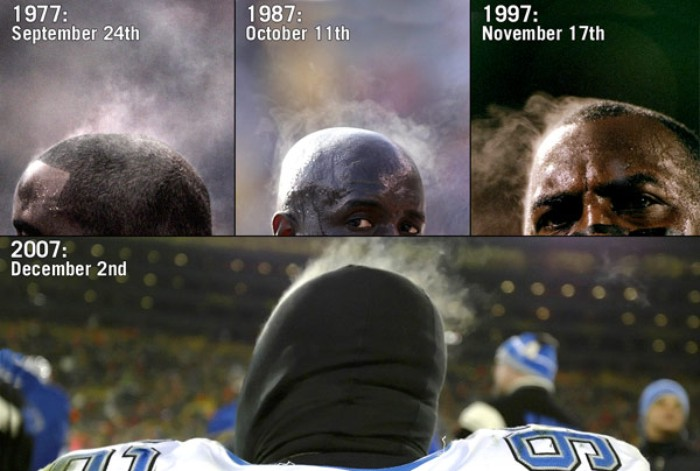 The coming of winter, aka FOOTBALL WEATHER, brings STEAMING BLACK GUY HEADS.